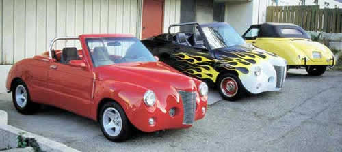 3 retro street rods ready for cruising to a car show